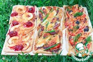 Рецепт Пироги для пикника с разными начинками на домашнем слоёном тесте