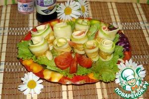 Рецепт Закусочные рулетики из кабачка с сыром