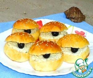 """Рецепт Бутерброды """"Ракушки с черным жемчугом"""""""