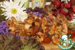Рецепт Креветки-гриль, маринованные в соевом и сладком Чили и Имбирь Соусе