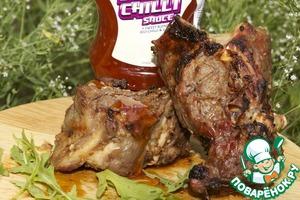 Рецепт Ребрышки молодого барашка, маринованные в сладком Чили и Манго соусе и веточках розмарина