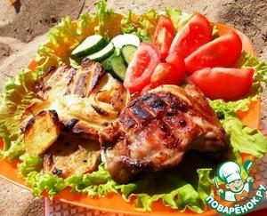 Рецепт Курица и картофель, маринованные в масле и соусе терияки