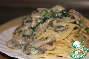 Рецепт Спагетти с грибами, спаржей и шпинатом