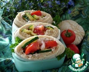 Рецепт Хлеб пита с ржаной мукой и овощной начинкой