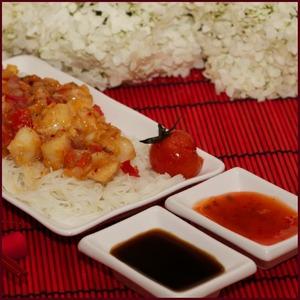 Рецепт Рисовая лапша с морскими гребешками в сладком соусе чили