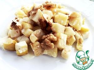 Рецепт Запечённый сельдерей с яблоками под сырным соусом из козьего сыра