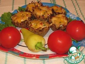 Рецепт Тарталетки из картофеля с куриным филе под чесночно-сырным соусом
