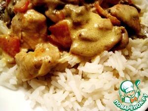 Рецепт Курица с пьяными овощами в сметане