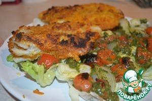 Рецепт Рыба в панировке с теплым салатом из помидоров
