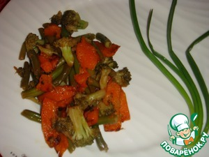 Рецепт Запеченная тыква с брокколи и зеленой фасолью в китайском стиле