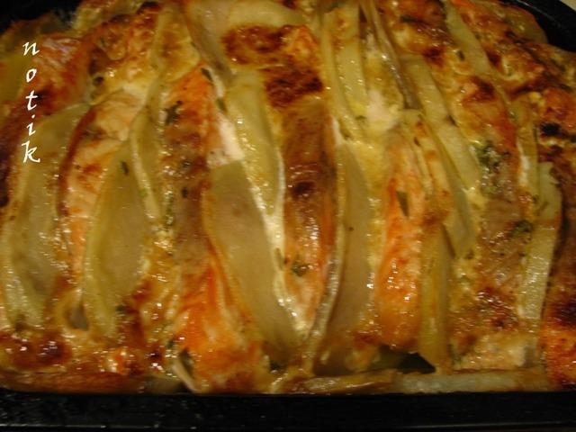 Готовим Лосось с картофелем под сливочно-горчичным соусом рецепт приготовления с фото пошагово #6