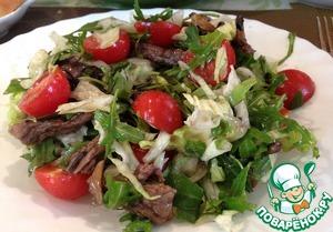 Рецепт Теплый салат с рукколой, телятиной и помидорами черри