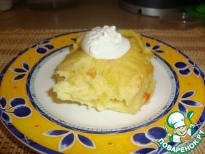 Рецепт Картофельная зепеканка с плавленым сыром и овощами