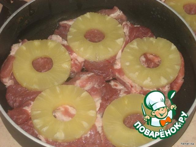 Мясо с ананасами фото рецепт пошагово с фото в