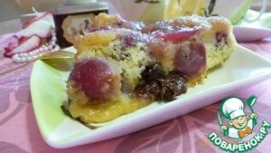 Рецепт Перевернутый пирог с виноградом и кусочками шоколада