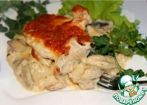 Рецепт Куриное филе под нежнейшим винно-сливочным соусом с сырно-миндальной корочкой