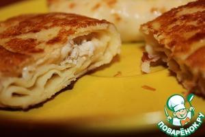 Рецепт Вкуснейшие блинчики с курицей и сыром