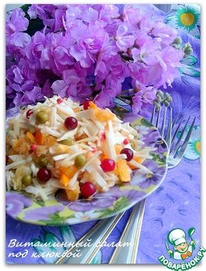 Как приготовить Витаминный салат под клюквой вкусный пошаговый рецепт приготовления с фотографиями