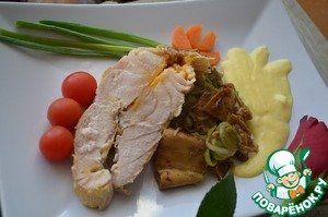 Рецепт Осетрина с белыми грибами и соусом муслин