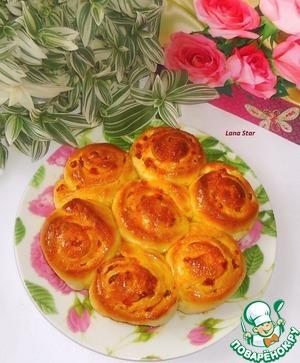 """Рецепт Пирог с курагой и апельсиновым ароматом """"Букет роз"""""""