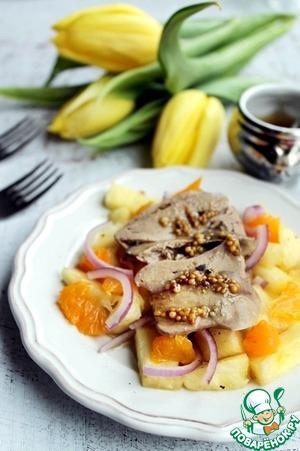 Рецепт Салат с куриной печенью и фруктами