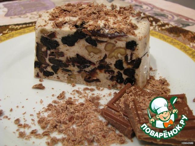 Десерт из сметаны желатина и чернослива