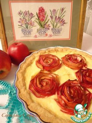"""Рецепт Песочный пирог с творожной начинкой и яблочными """"розами"""""""
