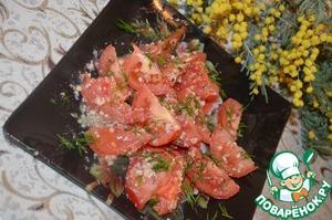 Рецепт Салат с помидорами и орехово-чесночной заправкой