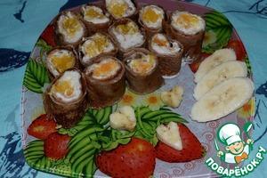 Рецепт Роллы из блинчиков с бананом и апельсином