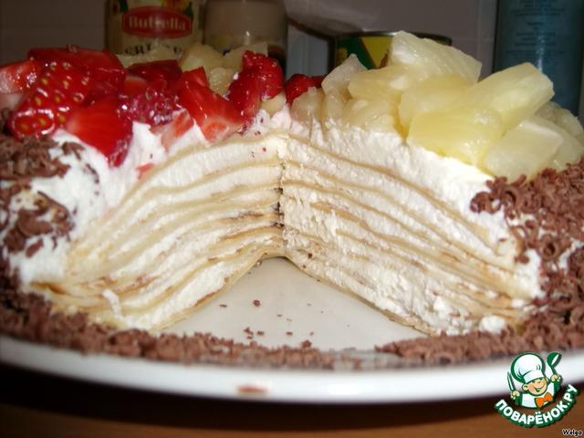 блинный торт с фруктами рецепт с фото