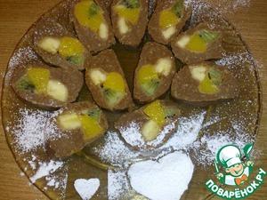 Рецепт Шоколадные роллы с фруктами