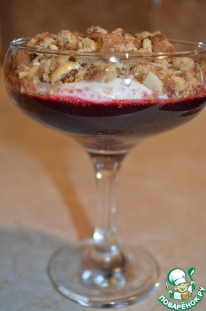 Рецепт Свекольное желе с ванильным кремом и овсяным печеньем