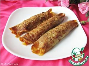 Рецепт Блинчики, фаршированные сыром бри и яблоками
