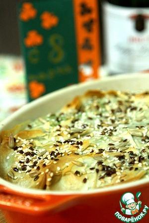 Рецепт Пирог-запеканка с курицей, шпинатом и сыром