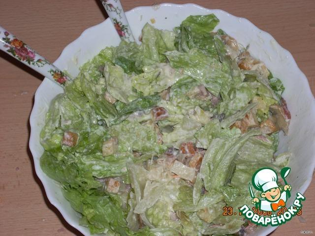 рецепты салатов с мясом и сухариками