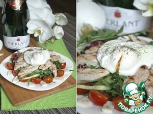 Рецепт Салат с курицей и яйцом пашот