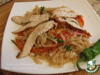 Три удовольствия Бра: Рисовая лапша с овощами и подкопченной на чайном листе куриной грудкой ингредиенты
