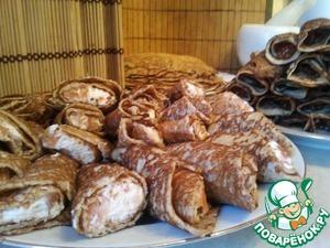 Рецепт Ржаные блины на дрожжах из ХП, с икрой, семгой и творожным сыром
