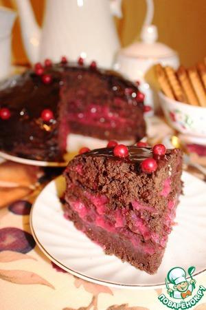 Рецепт Шоколадно-брусничный торт (постный)