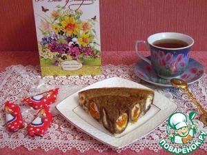 Рецепт Блинчатый пирог с творогом и курагой