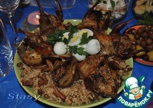 Рецепт Перепела, фаршированные лисичками и рисом