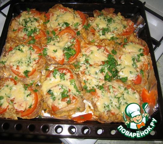 Готовим Свинина, запеченная с помидорами и сыром простой рецепт приготовления с фото #7