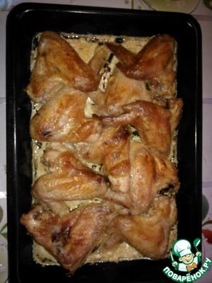 Рецепт Крылышки в чесночном-сливочном соусе