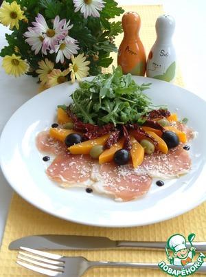 Рецепт Салат из тыквы с рукколой, пармской ветчиной и пармезаном