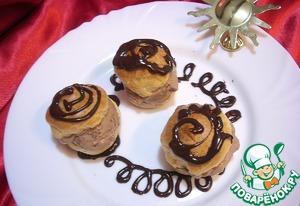 Рецепт Профитроли, начиненные домашним шоколадным мороженым