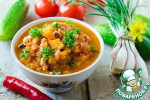 Рецепт Томатный суп с фасолью и тыквой