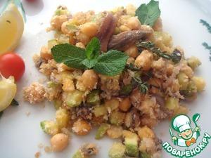 Рецепт Закуска из нута с чесноком, анчоусами, молодым кабачком и красным луком