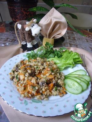Рецепт Перловая каша с креветками и овощами