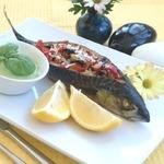 Рыба с овощами и горчичным соусом из брокколи