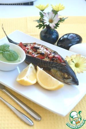 Рецепт Рыба запеченная с овощами и горчичным соусом из брокколи